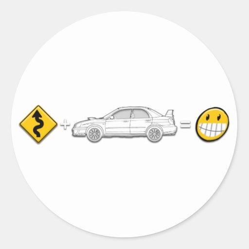 Las curvas, Subaru, igualan la diversión Pegatina Redonda