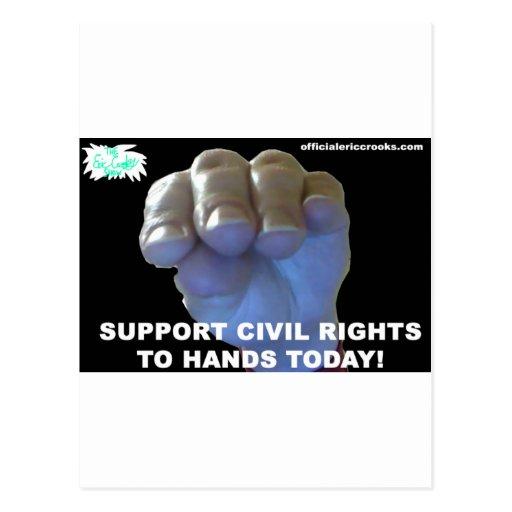 Las derechas civiles de las manos postal