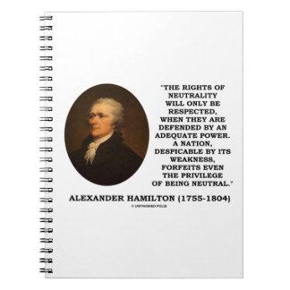 Las derechas de Alexander Hamilton del poder de la Cuaderno