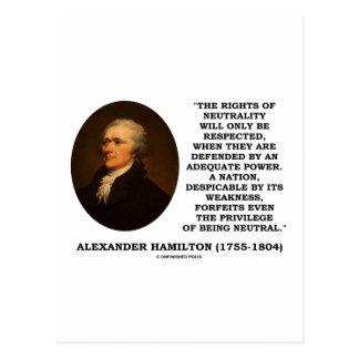 Las derechas de Alexander Hamilton del poder de la Postales