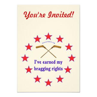 Las derechas de jactancia del hockey invitacion personalizada