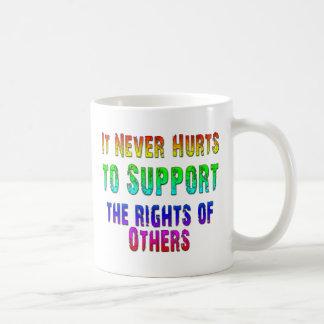 Las derechas de la ayuda de otras taza