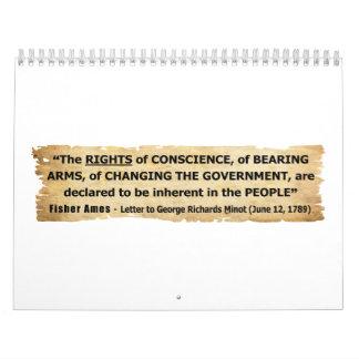 Las derechas de la cita de Fisher Ames de la gente Calendario De Pared