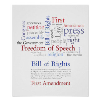 Las derechas de la Primera Enmienda - discurso Poster