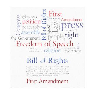 Las derechas de la Primera Enmienda - libertad de  Lona Envuelta Para Galerias