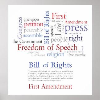Las derechas de la Primera Enmienda - libertad de  Póster