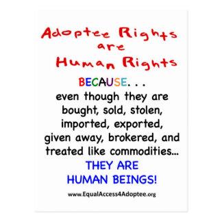 Las derechas del adoptado son derechos HUMANOS Postales