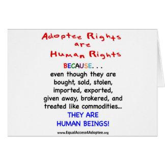 Las derechas del adoptado son derechos HUMANOS Tarjeta De Felicitación