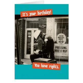 Las derechas divertidas del cumpleaños del poli tarjeta de felicitación
