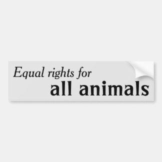 Las derechas iguales para todos los animales pegatina para auto
