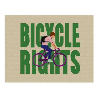 Las derechas/verde de la bicicleta tarjetas postales
