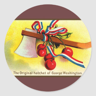 Las destral-cerezas de George Washington Pegatina Redonda