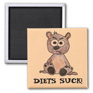 ¡Las dietas chupan! Pequeño oso Cub gruñón Imán Cuadrado