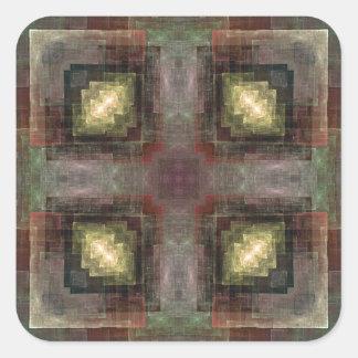 Las dimensiones alternas tejaron el extracto pegatina cuadrada
