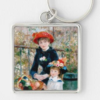 Las dos hermanas, en la terraza, Renoir Llavero Cuadrado Plateado