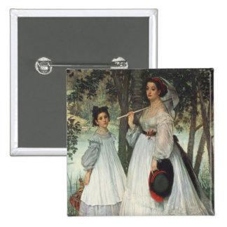 Las dos hermanas: Retrato, 1863 Pin Cuadrado