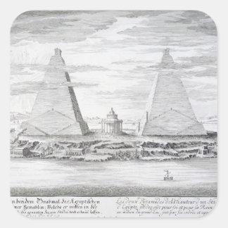 Las dos pirámides de Moeris, rey de Egipto y el Pegatina Cuadrada