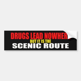 Las drogas llevan en ninguna parte a la pegatina p etiqueta de parachoque