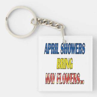 Las duchas Bring de abril pueden las flores Llavero Cuadrado Acrílico A Doble Cara
