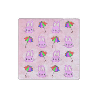 Las duchas de abril traen conejitos rosados imán de piedra