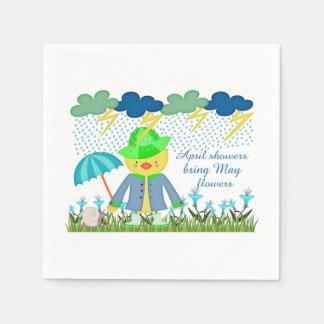 Las duchas lindas Bring de abril del pato pueden l Servilletas De Papel