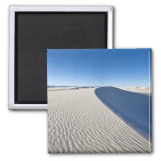 Las dunas de arena en el blanco enarenan el monume imán cuadrado