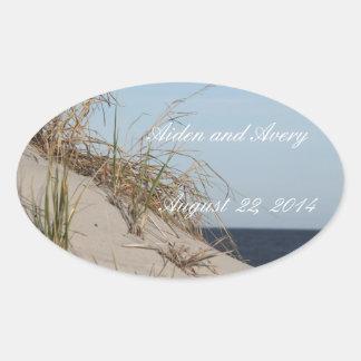las dunas que casan a los pegatinas de la fecha pegatina ovalada