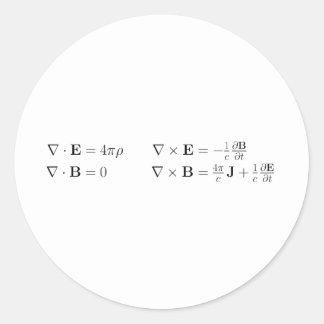 Las ecuaciones del maxwell, forma diferenciada, pegatina redonda