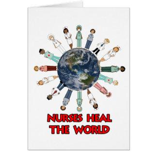 Las enfermeras curan el personalizado del mundo tarjeta pequeña