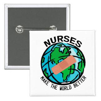 Las enfermeras hacen el mundo un mejor botón del g pin cuadrado