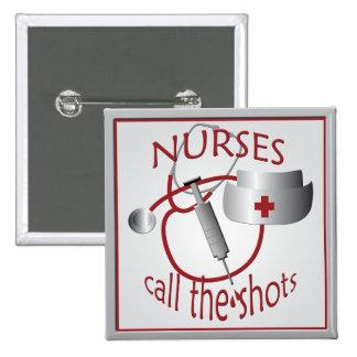 Las enfermeras llaman el botón del cuadrado de la pin cuadrado