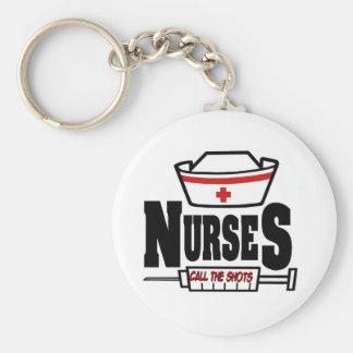 Las enfermeras llaman los tiros llavero personalizado