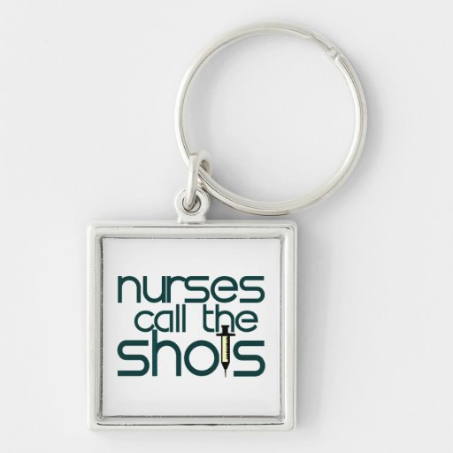 Las enfermeras llaman los tiros llavero cuadrado plateado