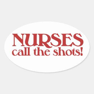Las enfermeras llaman los tiros pegatina de oval