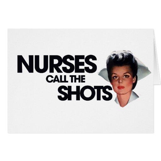 Las enfermeras llaman los tiros tarjetón