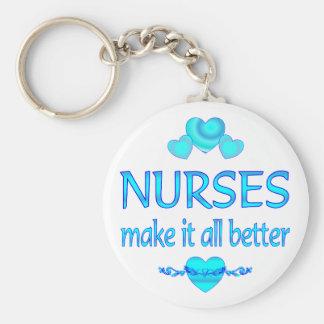 Las enfermeras lo hacen mejor llavero personalizado