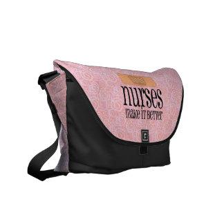 Las enfermeras lo hacen mejor, vendaje bolsas messenger