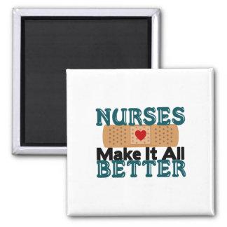 Las enfermeras lo hacen todo mejor imán cuadrado