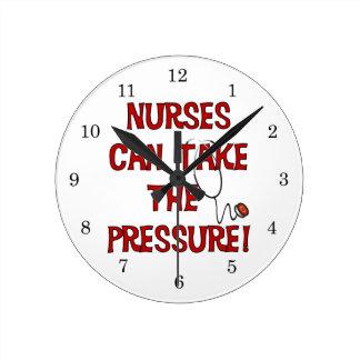 Las enfermeras pueden tomar la presión relojes de pared