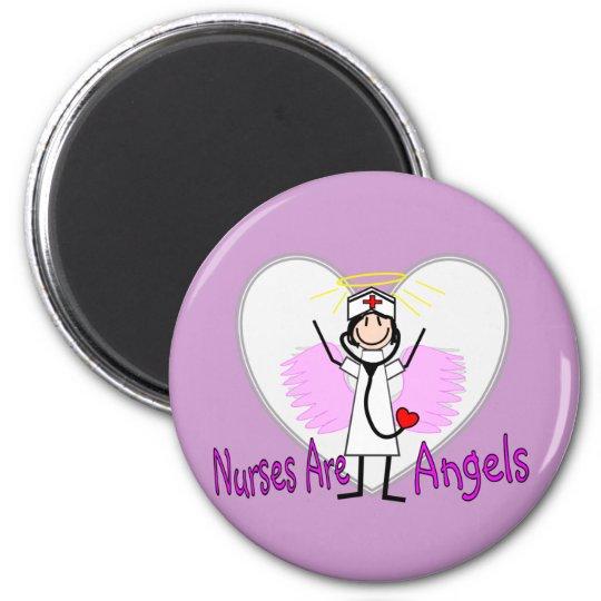 Las enfermeras son ángeles imán redondo 5 cm