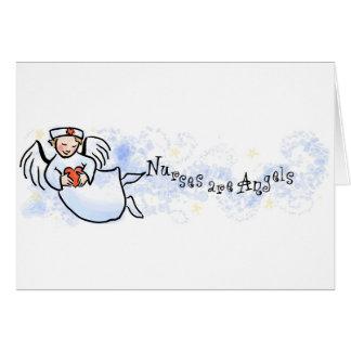 Las enfermeras son ángeles tarjeta de felicitación