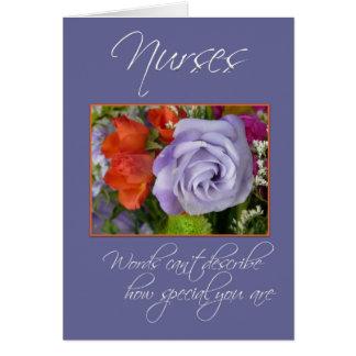 Las enfermeras son flores Especial-Coloridas/le Tarjeta De Felicitación
