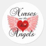 Las enfermeras son los ángeles reales etiqueta redonda
