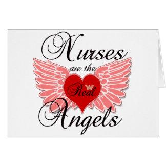 Las enfermeras son los ángeles reales tarjeta de felicitación