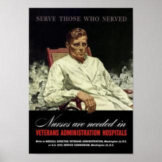 Las enfermeras son necesarias -- WWII VA Póster