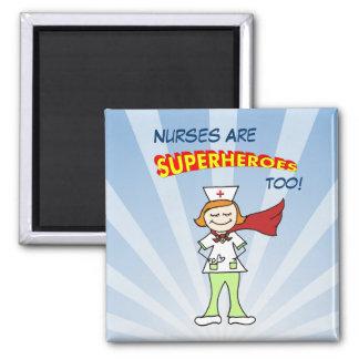 ¡Las enfermeras son super héroes, también! Imán Cuadrado
