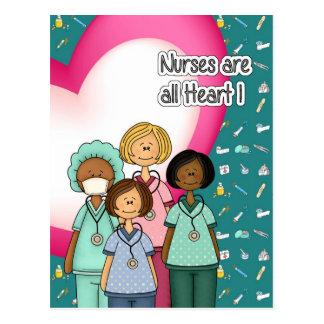 Las enfermeras son todas las postales del corazón