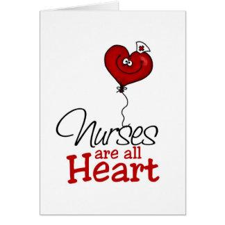Las enfermeras son todo el corazón tarjeton