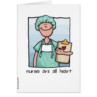 las enfermeras son todo el corazón tarjeta