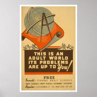Las escuelas federales liberan WPA 1938 Póster